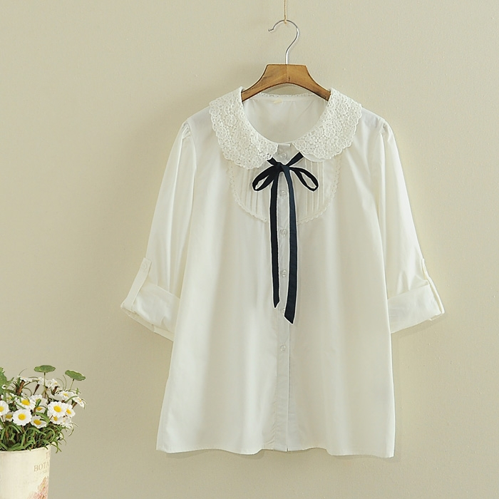 917ec96610d Lolita Bowknot Lace Doll Collar Women Blouse from Sweetbox Store
