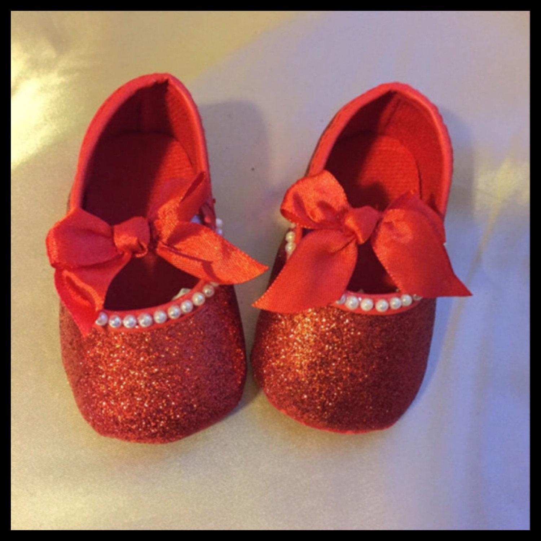 Red Glitter Baby Girls Crib Shoes Size 3 - 6 Months Red Satin Ribbon ... 9bdd7185b