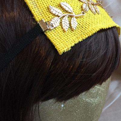 feaf0bfdf51da Unique yellow burlap gold leaves hair stretch headband leaf girls teens  womens