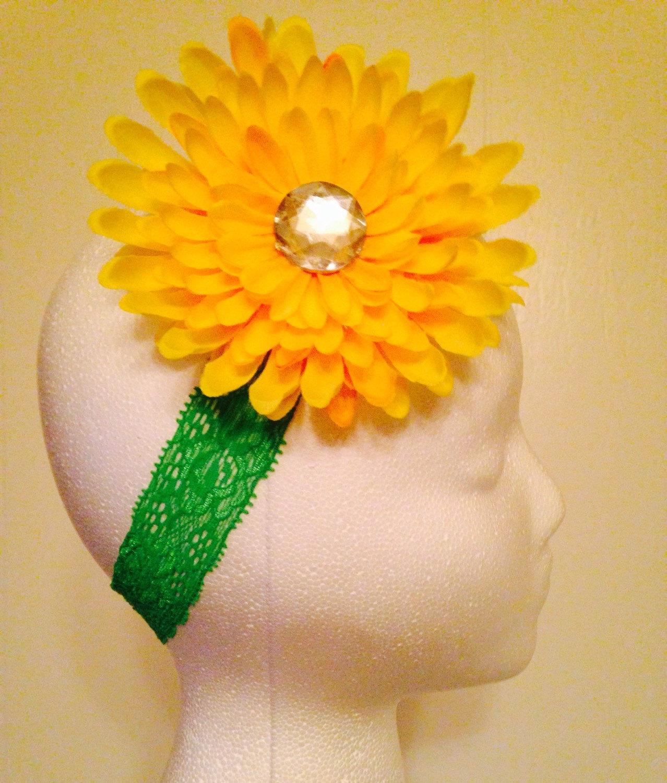 ... Yellow Dahlia Sunflower Daisy Flower Headband Baby Infant Toddler Girls  Rhinestone Lace Headband - Thumbnail 2 ... dc2c7a21239