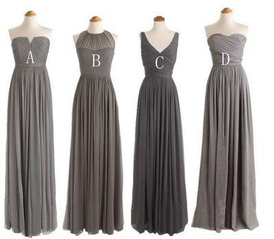 Charcoal Grey Bridesmaid Dresses Long Bridesmaid Dresses