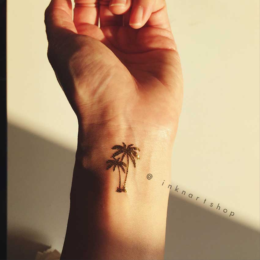 4pcs Gold Tiny Palm Tree Metalic Gold Foil Inknart Temporary Tattoo Set Wrist Quote Tattoo