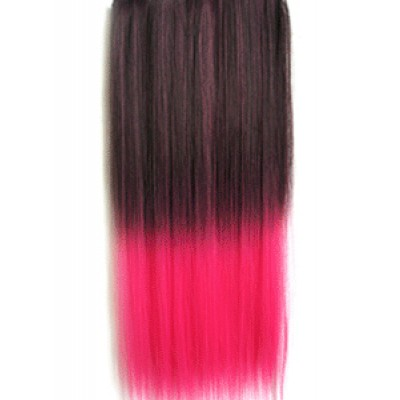 Colorful 5 Clips Ombre Hair Straight Dark Red Shocking Pink