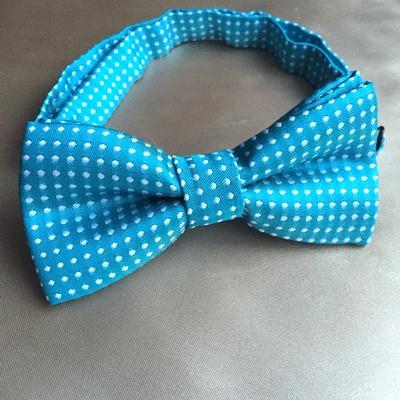 9ca05cf86bea6 Turquoise blue polka dots silk satin bow tie collar boys dog pet adjustable  necktie neckwear