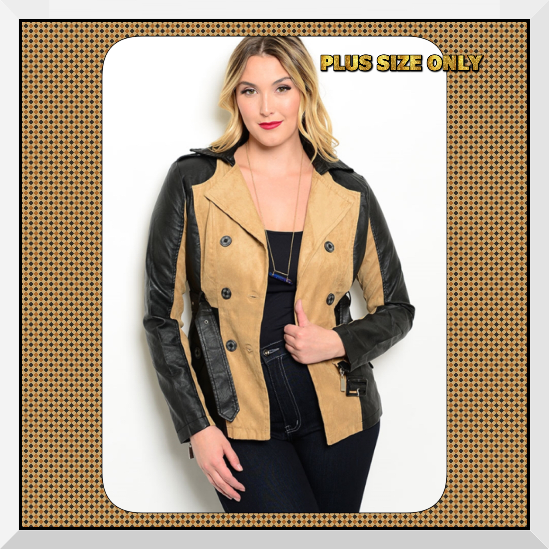 5f2a0a0f8 New Plus Size Khaki & Black Faux Leather & Faux Suede Jacket Trench Coat  Curvy XL & 3X Only Left