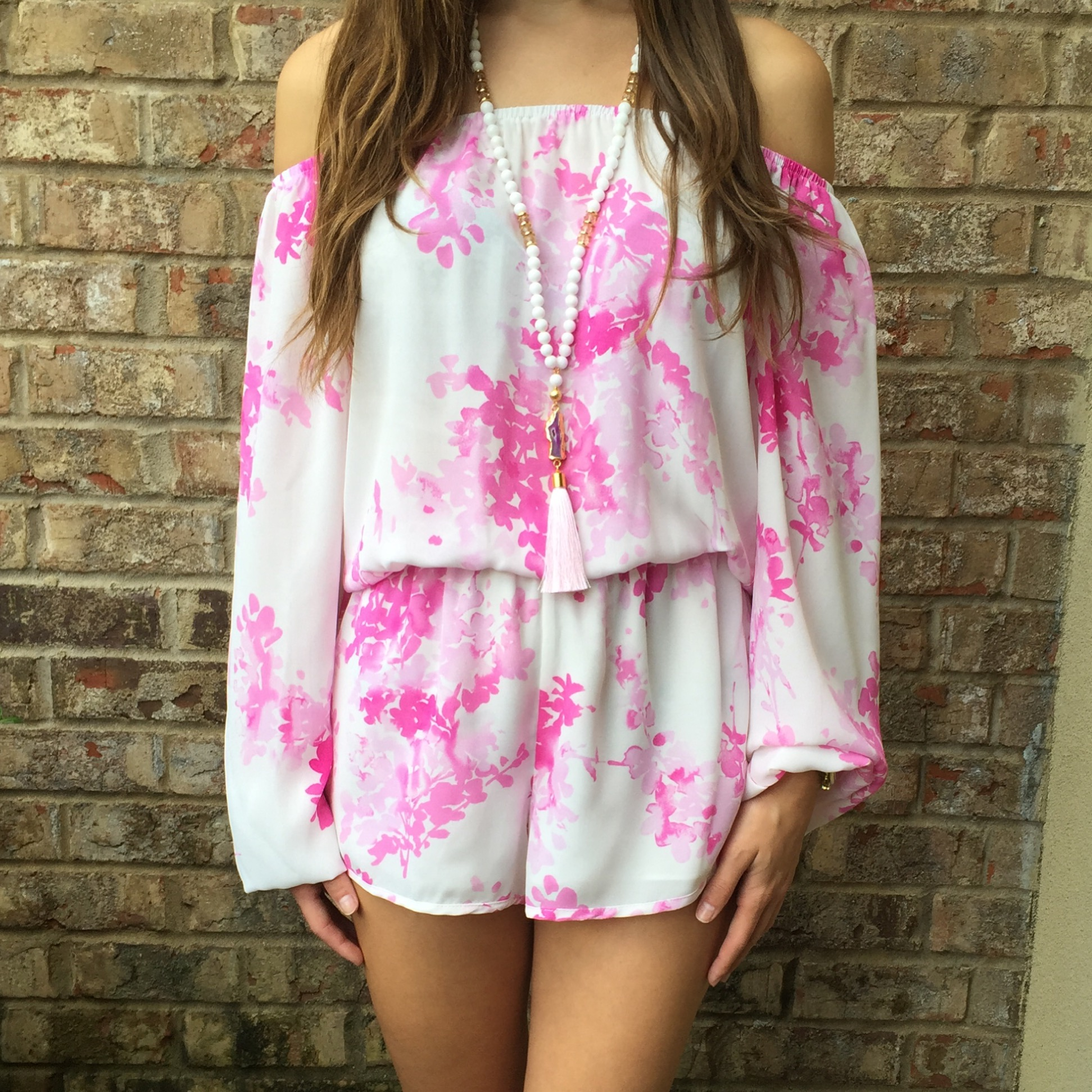 08c365d2526 White   Pink Floral Romper · Jaded Bliss Boutique · Online Store ...