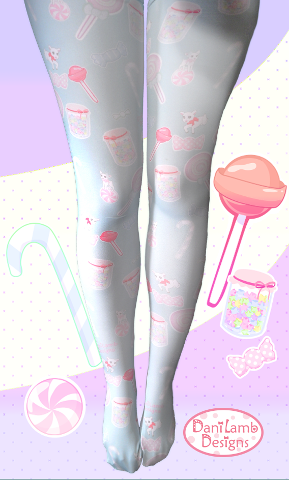 e95d355acc2 Candy Tights Fairy Kei Stockings Sweets Pastel Printed Tights ...