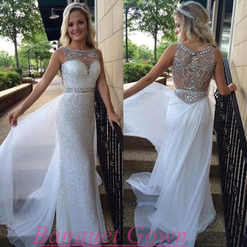 New Prom Dress,White Prom Dress,Backless Prom Dress,Sheer Silver ...