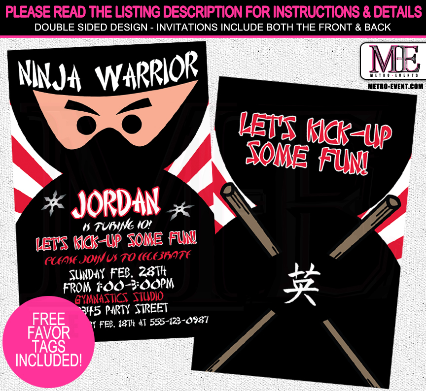Ninja Birthday Invitations Metro Events Party Supplies Online