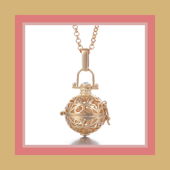 1f5d655db8689 Angel Caller/Harmony Ball Necklace- Angular Design in Gold Tone from  HappiHeart Designs