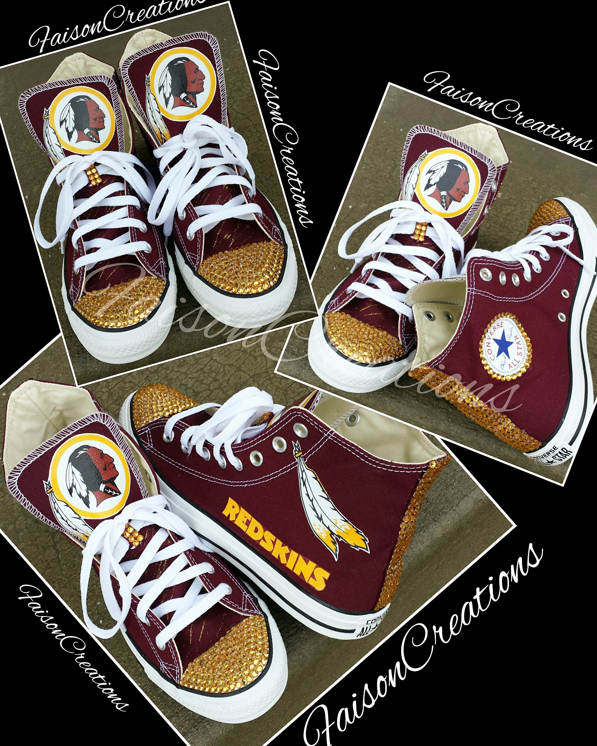 0ccbf477 Adult Custom Redskins Converse Size 4-9 from FaisonCreations