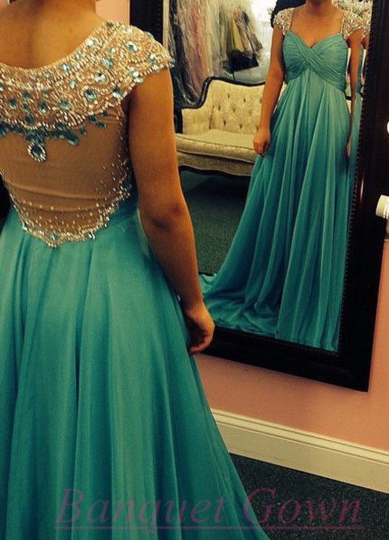2016 Turquoise Crystals Chiffon Prom Dresses A-line Ruched Sheer ...