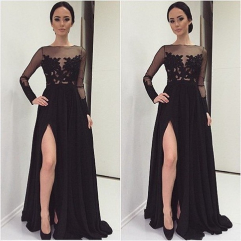 0c3789fa1051 Black prom dresses,long sleeve evening dresses,A-line lace front slit long  formal gowns on Storenvy