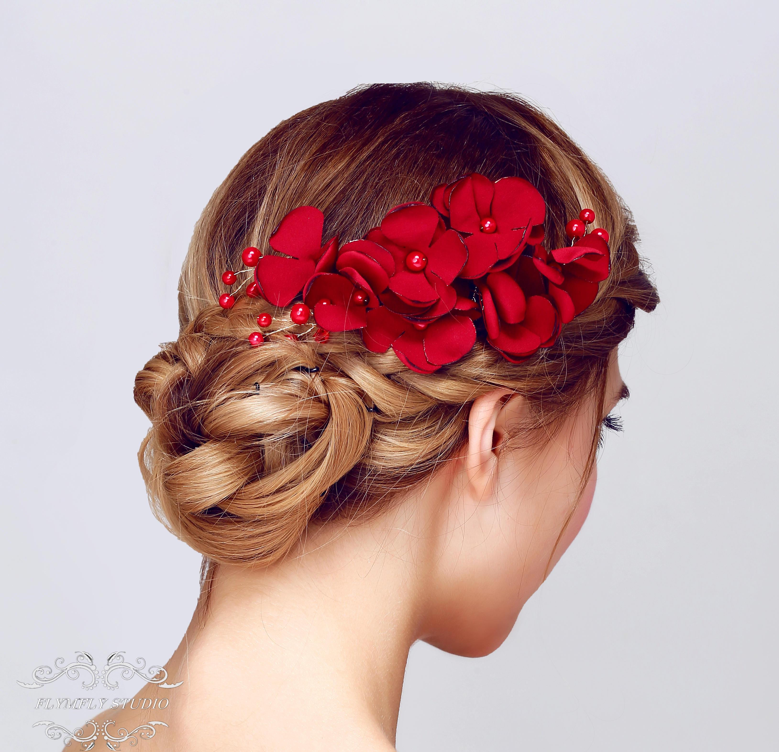 handmade pearl wedding hair accessories, bridal hair pins, formal