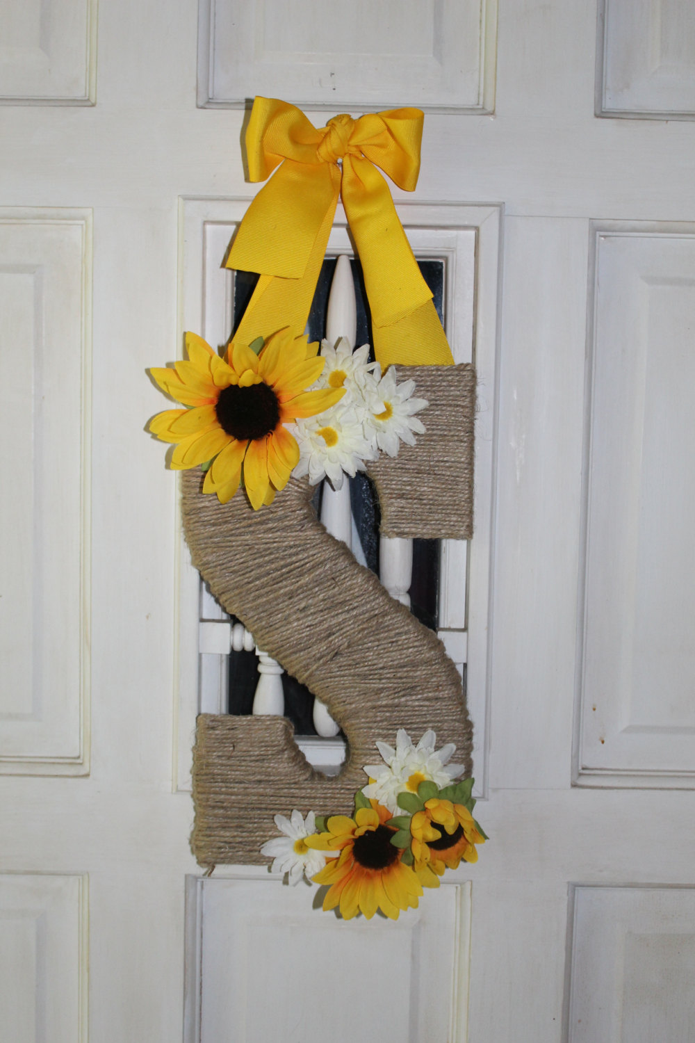 Twine Wrapped Initial Door Hanger Monogram Door Hanger Twine Wrapped Letter Monogram Door Wreath Initial Wreath Sunflower Wreath Sold By Lnp Boutique On Storenvy
