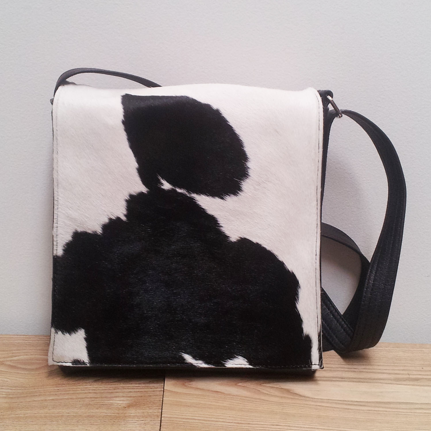 c51c296c0b Leather Messenger Bag with unique Cowhide - Small Viv Black and white on  Storenvy