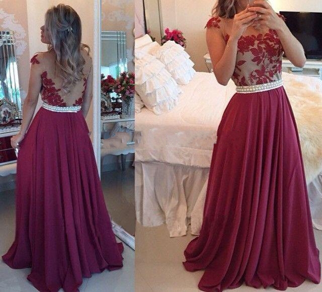 Sleeveless neck see-through back lace beading prom dresses,evening ...