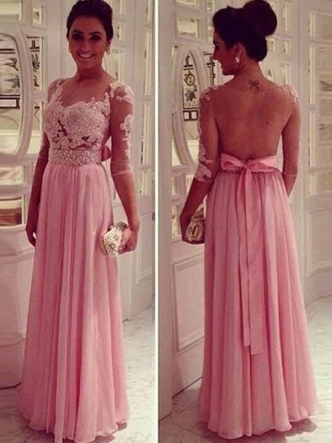 Peach Prom Dresses Pink A Line Scoop Floor Length Chiffon