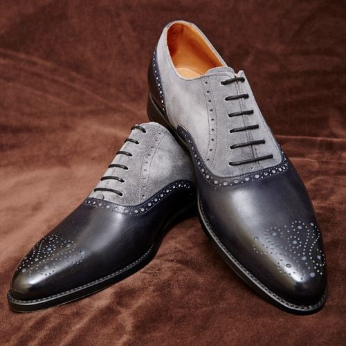 64371ea155 Handmade men dress leather brogue two tone shoes,Men black and gray formal  shoes on Storenvy