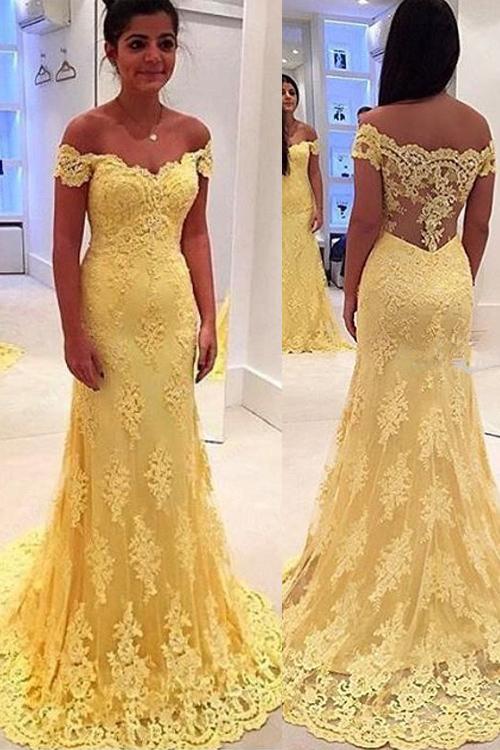 22b18e8eaf Capped sleeves floor length lace mermaid evening dress
