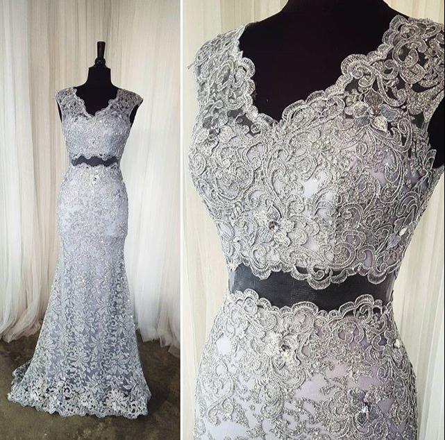 Elegant Two Pieces Lace Arab Wedding Dress Sheath 2017: Two Pieces Sheath Lace Long Prom Dresses,Silver Charming
