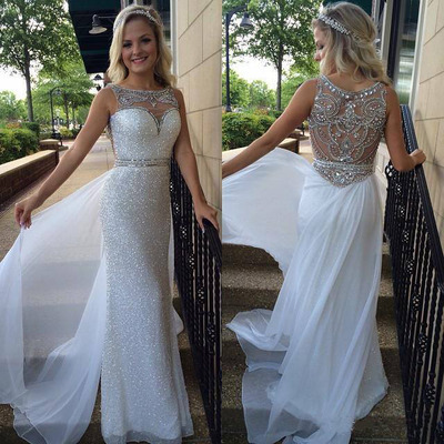White prom dress, sequin prom dresses