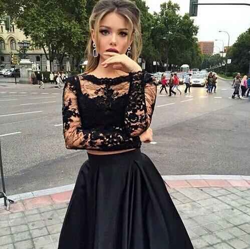 long sleeve prom dress, 2016 2 pieces prom