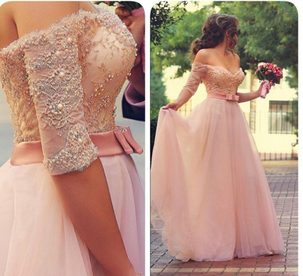 Off Shoulder Lace and Tulle Prom Dresses Pearls and Beads ... 667ee77fee65