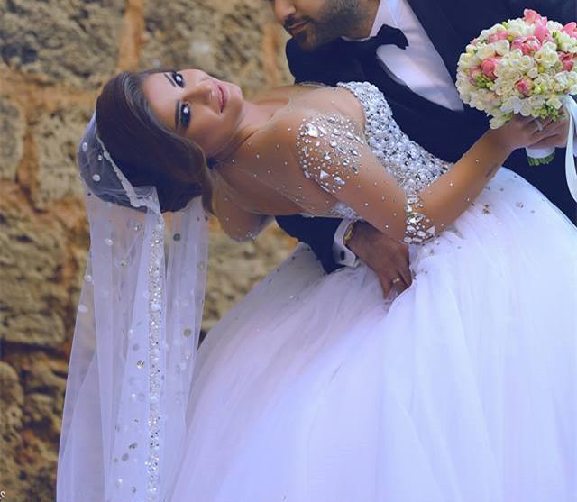 Crystal Bodice Wedding Gown: Crystal Beaded Bodice Long Sleeve Wedding Dress,Ball Gown