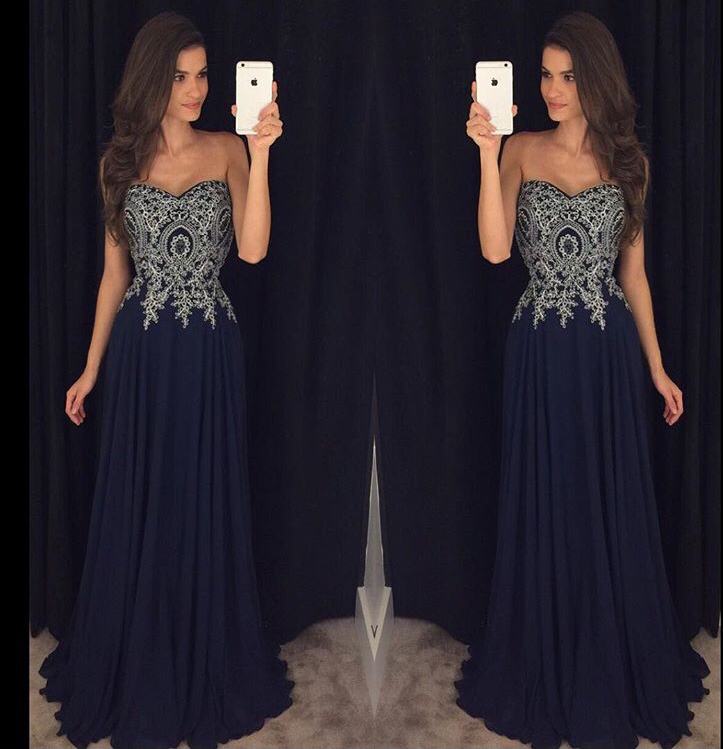 Sweetheart Neck Black Chiffon Lace prom dress,evening gown ...