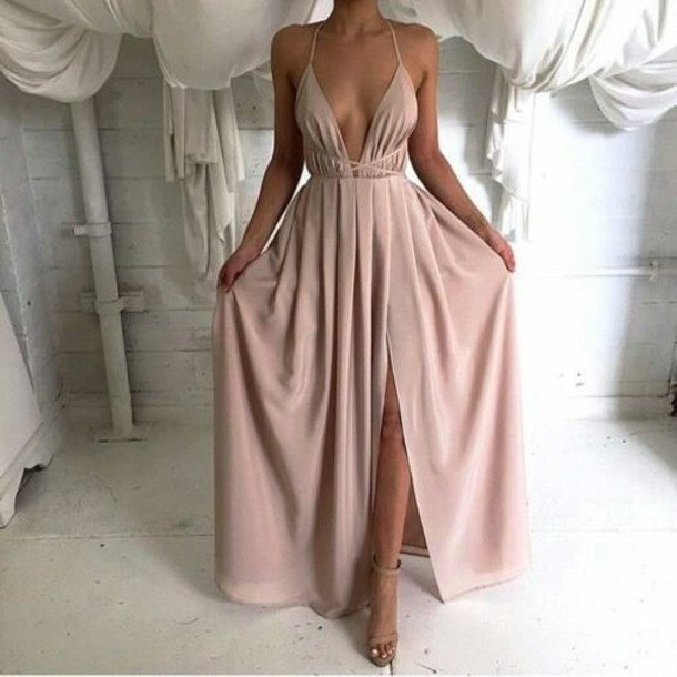 Sexy Backless Prom Dress Deep V Neckline Long Party Dress Simple