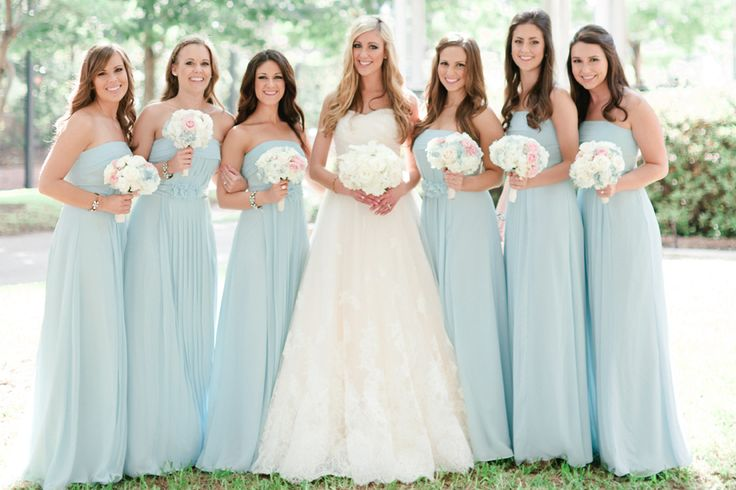 Bright Teal Bridesmaid Dresses Strapless