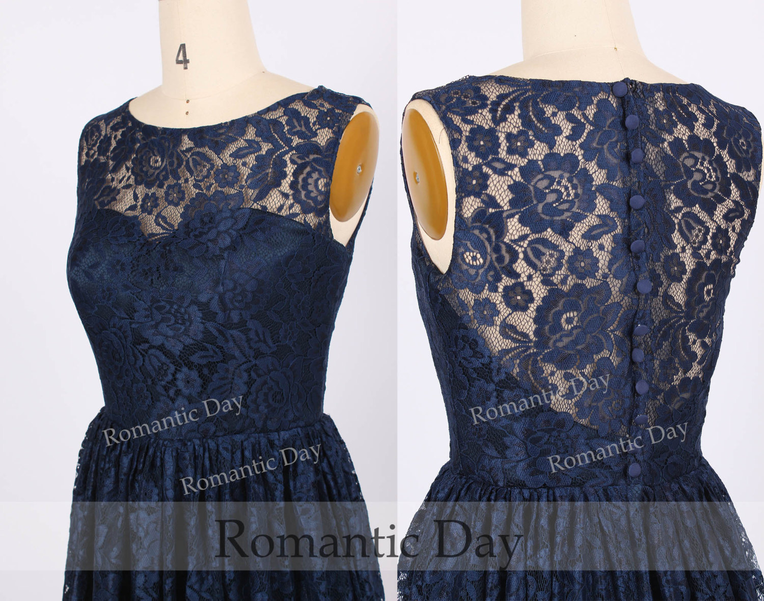 Hot Sale Navy Illusion Neckline See Through Back Short Lace