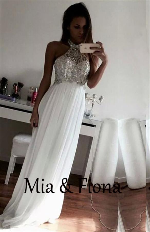Long White Halter Top Prom Dress