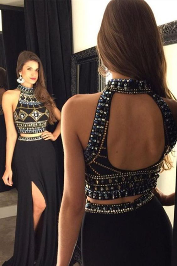 Black Jersey 2 Pieces Prom Dressesboho Prom Dresses Long Formal