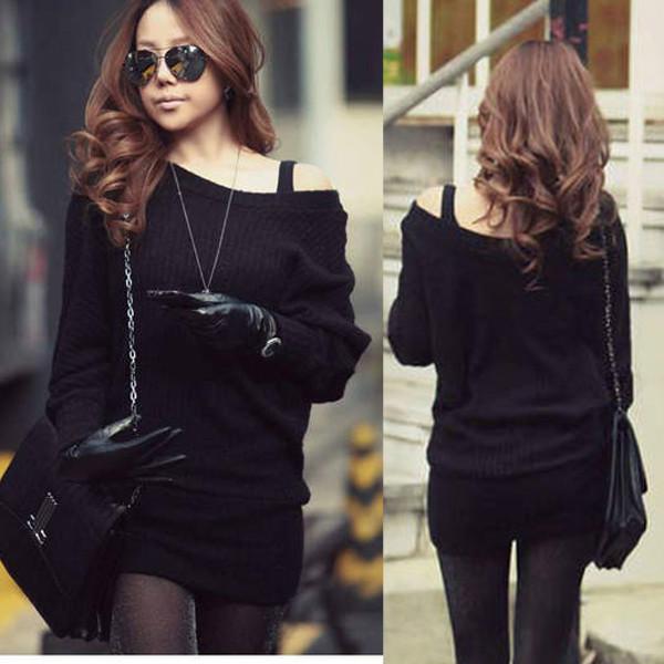 Black Knitted Jumper Sweater Mini Dress On Storenvy