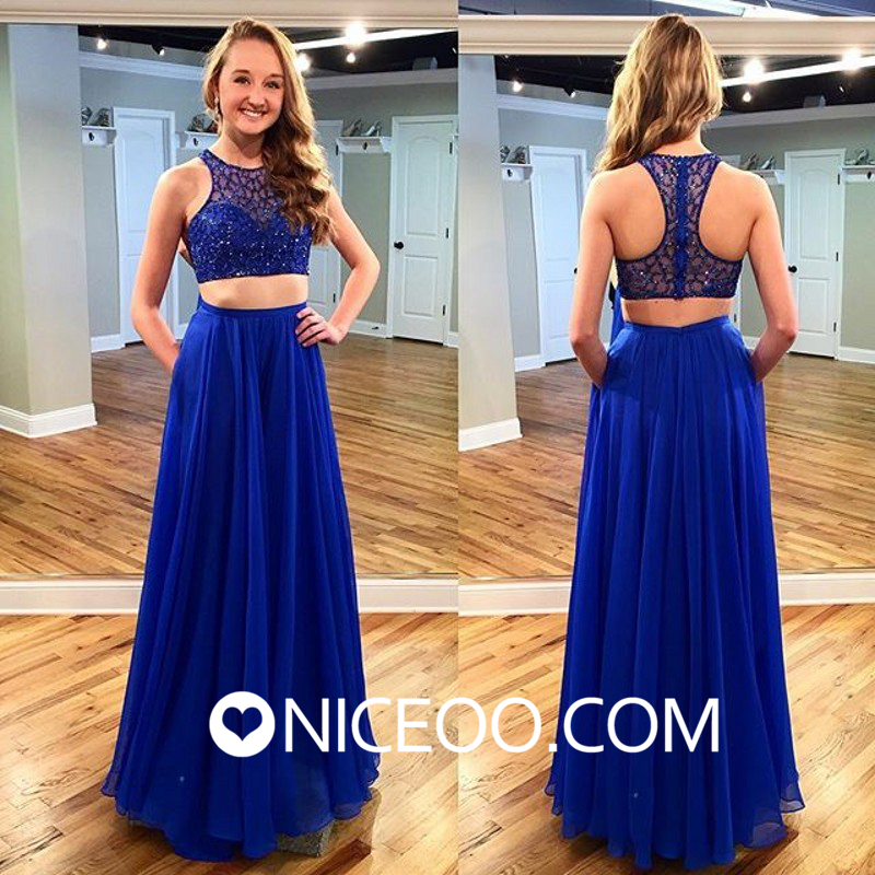 9eaf53791df Charming royal blue A line princess Scoop Neck Floor Length chiffon formal  dresses with Beaded