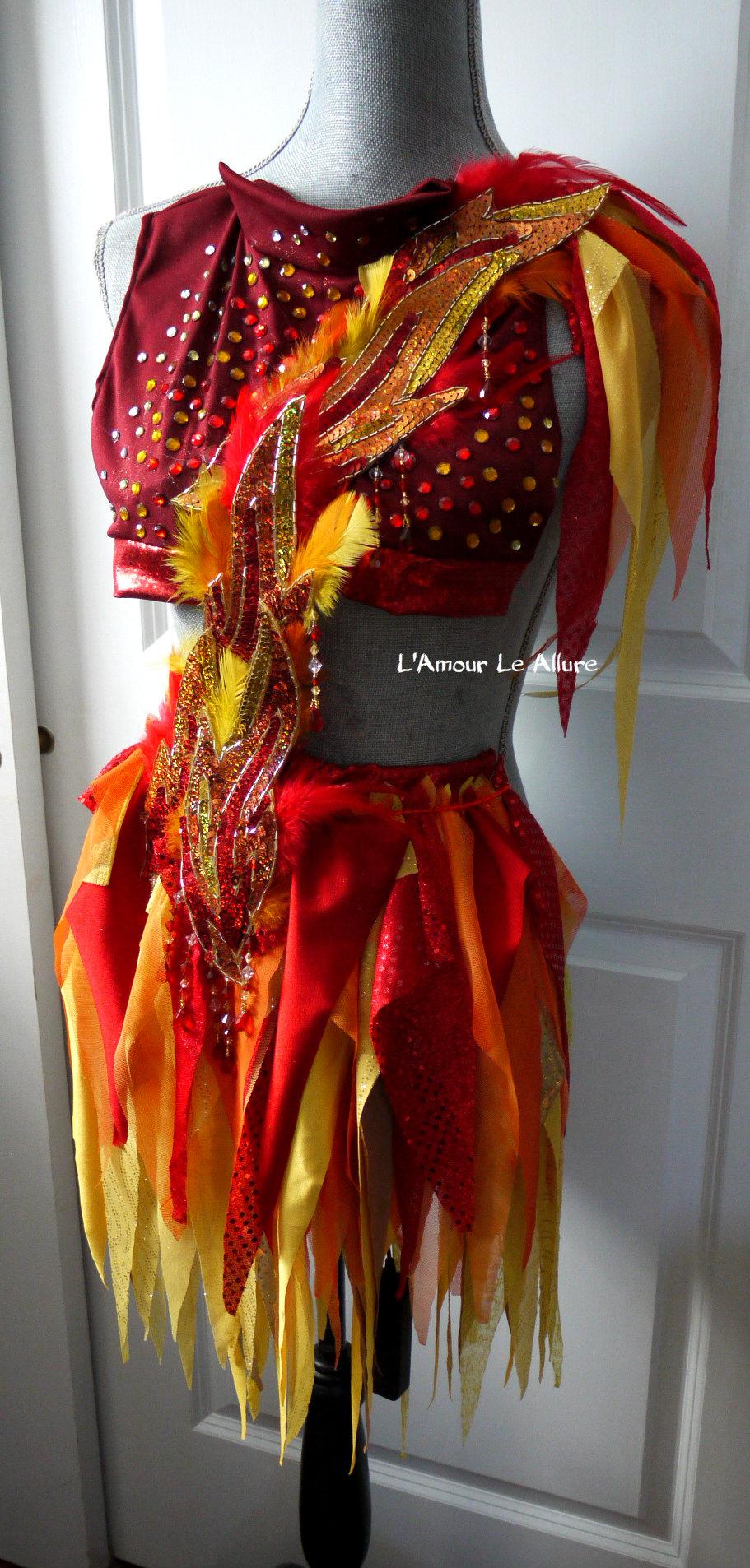 Girl On Fire Monokini Fairy Cosplay Dance Costume Rave Bra