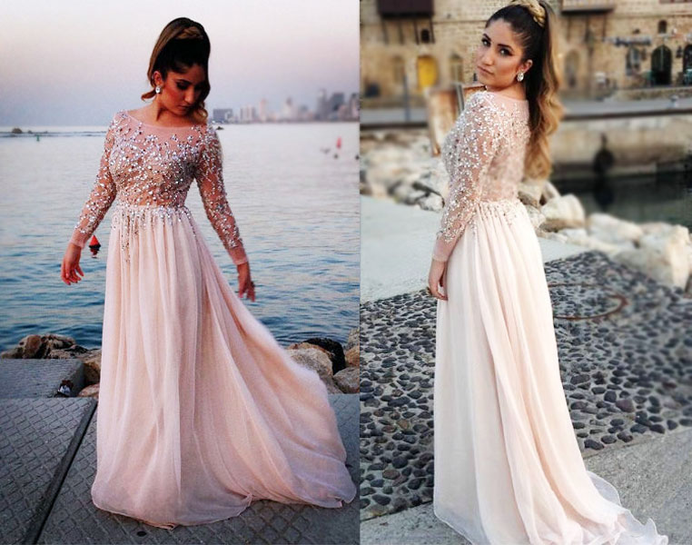 Gorgeous long chiffon prom dresses long sleeves prom gowns beading