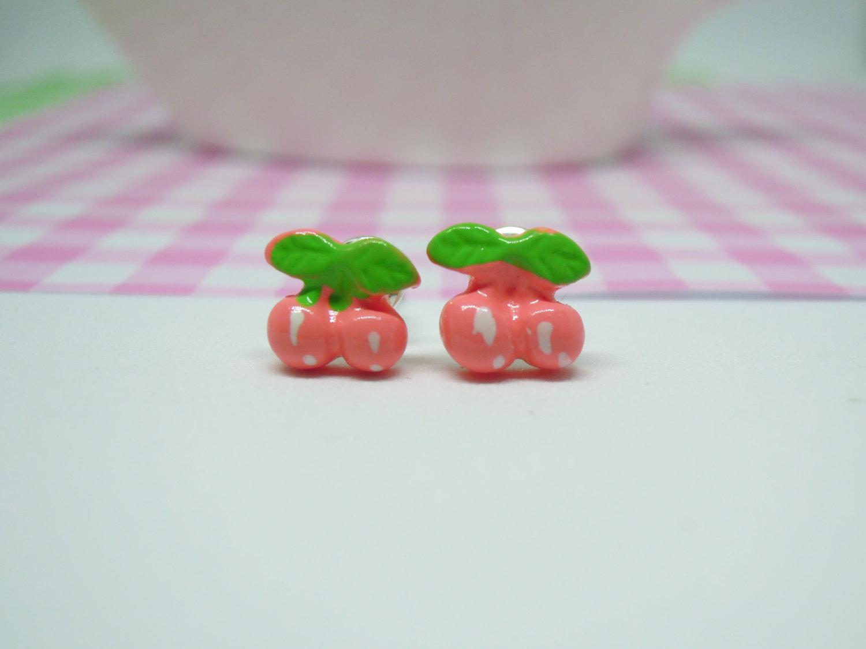 Miniature Cute Sweet Pink Cherry Polymer Clay Food Stud Earring