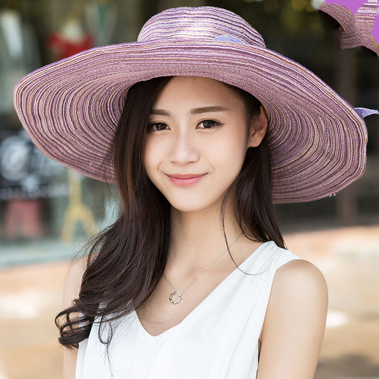 177ee7fe Women Girls Wide Brim Straw Floppy Bowknot Linen Hat Summer ...