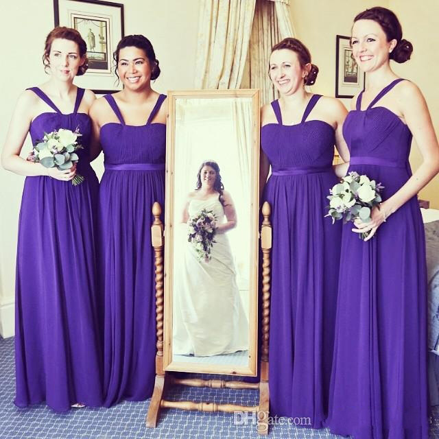 be55b047bc Strapless Purple Bridesmaid Dress with a Ribbon, A-line Chiffon Bridesmaid  Dress with Soft Pleats, Simple Long Bridesmaid Dresses, #01012766 from ...