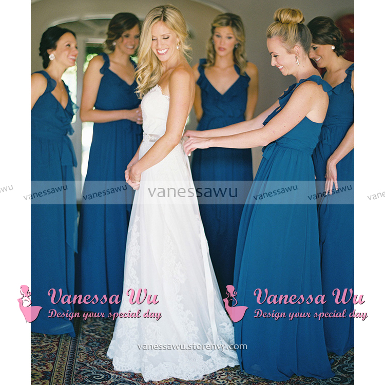 Teal Blue Bridesmaid Dress with Ruffles 59971fdc0