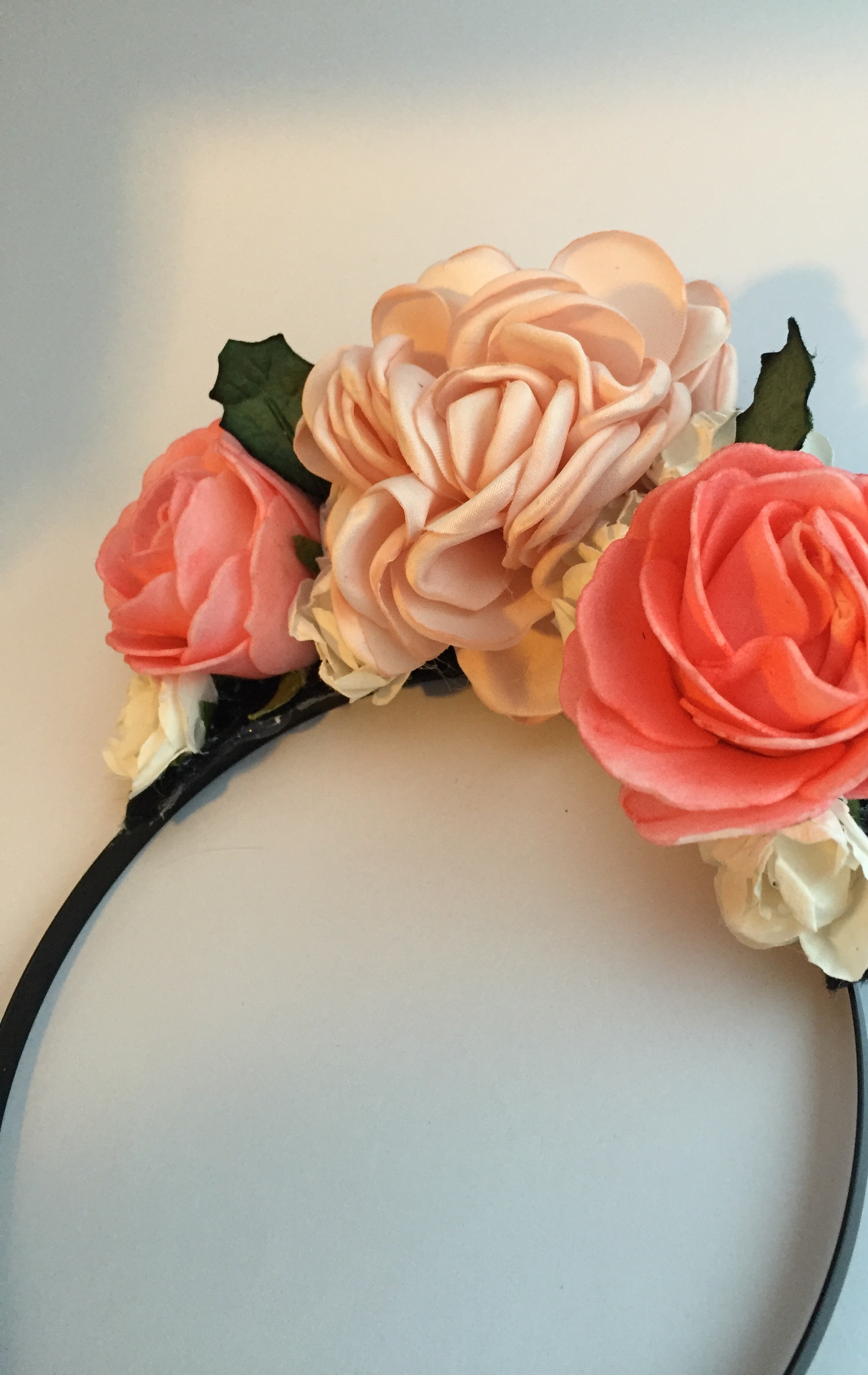 Shades of Peach Floral Headband Flowers Paper Foam Satin Girls Women s fb6ab8b7d7e