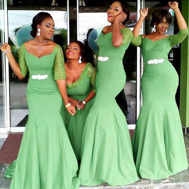 Off The Shoulder Bridesmaid Dress With Beaded Belt Clover Green Mermaid 1