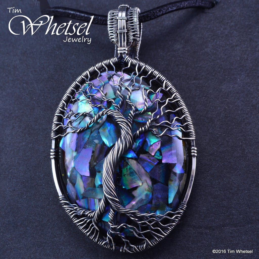 Wire Wrapped Tree Of Life Pendant With Mother Of Pearl