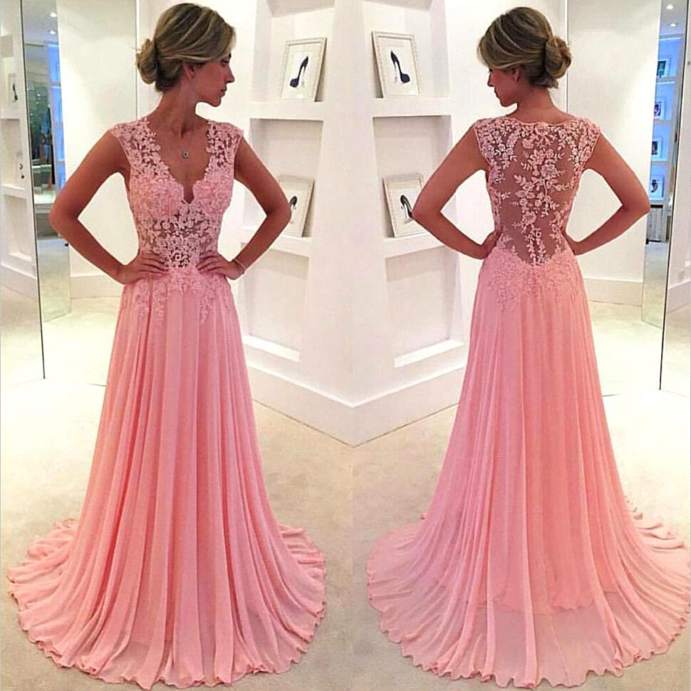 V Neck Pink Prom Dresses With Lace Appliques Floral Lace Prom Dress