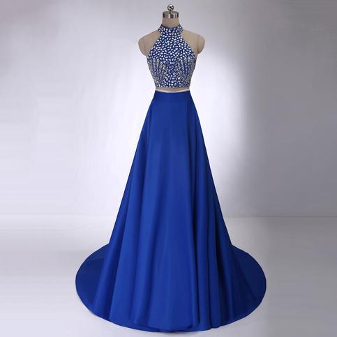 363fdab160f Crystal Beaded High Neck Prom Dresses