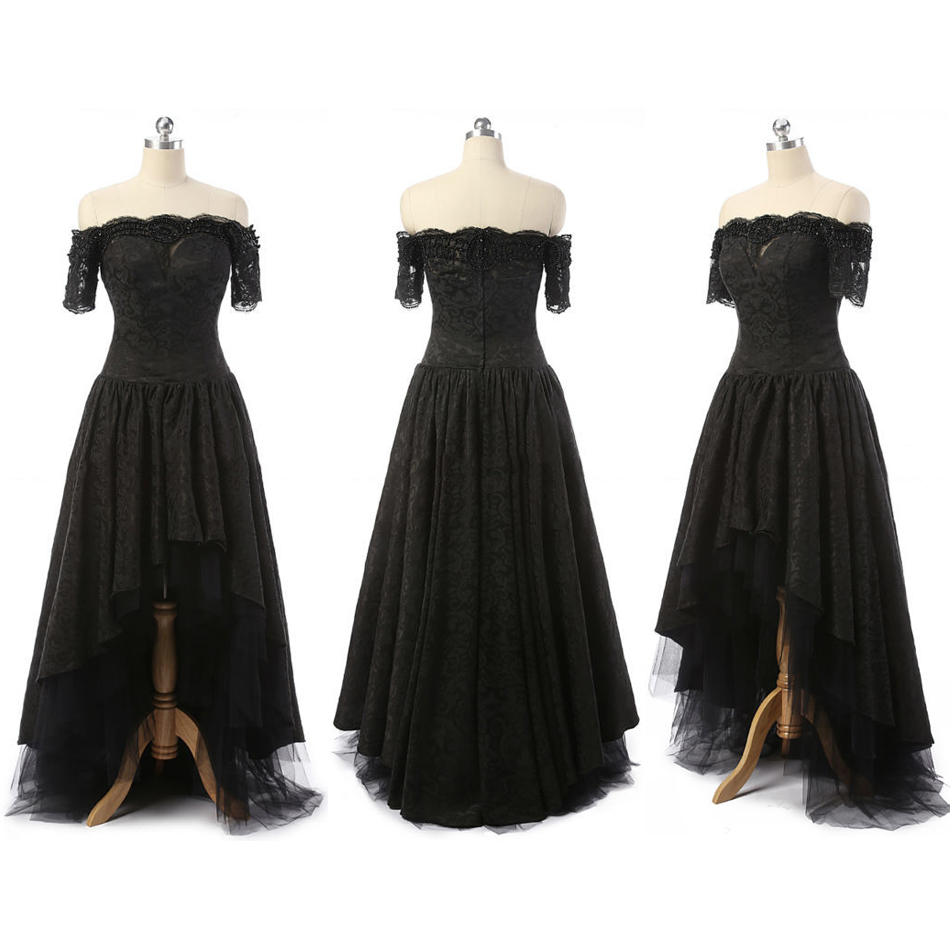 Off-the-shoulder High Low Prom Dresses, Asymmetrical Gothic Black ...