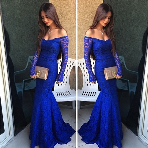 Royal Blue Lace Prom Dress Simple Off The Shoulder Prom